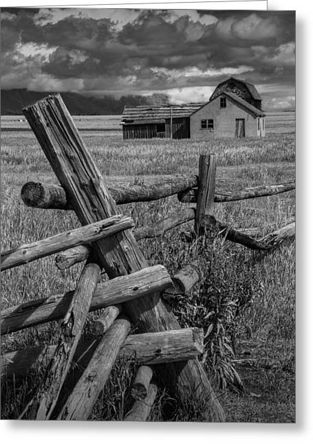 Brown Tones Greeting Cards - Wood Fence by the Moulton Farm on Mormon Row Greeting Card by Randall Nyhof