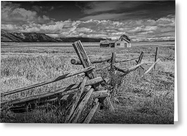 Brown Tones Greeting Cards - Wood Fence with John Moulton Farm in Black and White Greeting Card by Randall Nyhof