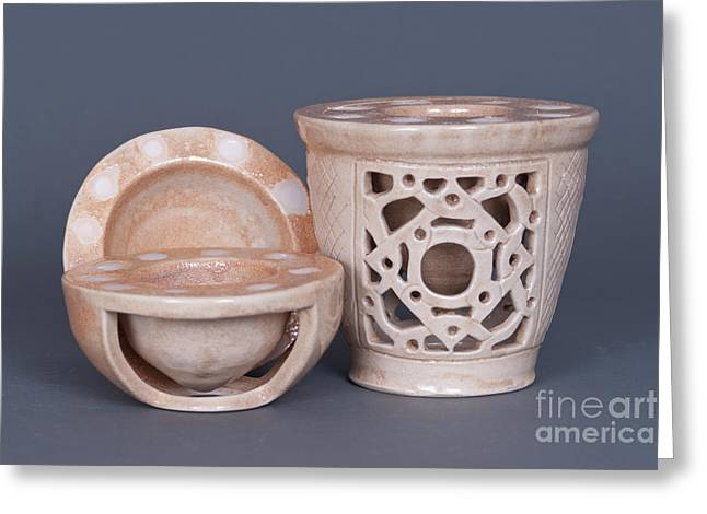 Vase Ceramics Greeting Cards - Wood Fired Ceramics Greeting Card by Tracy Pickett