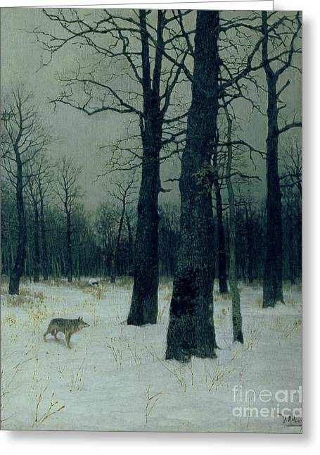 Bleak Greeting Cards - Wood in Winter Greeting Card by Isaak Ilyic Levitan