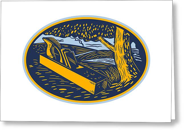 Wood Plane Forest Oval Woodcut Greeting Card by Aloysius Patrimonio