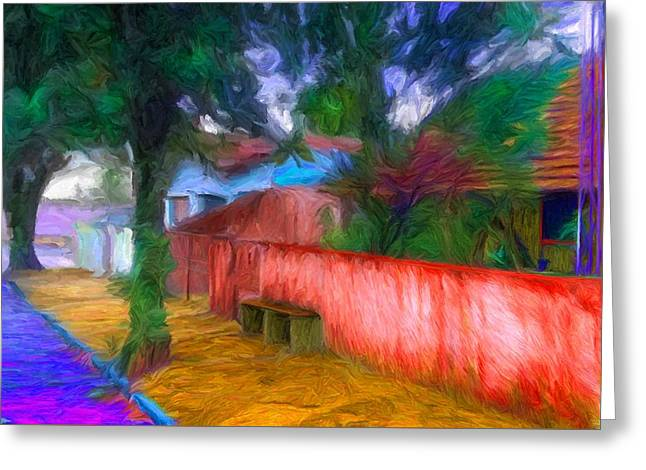 Townscape Digital Art Greeting Cards - Wood Plank House in Rebelshire Greeting Card by Caito Junqueira