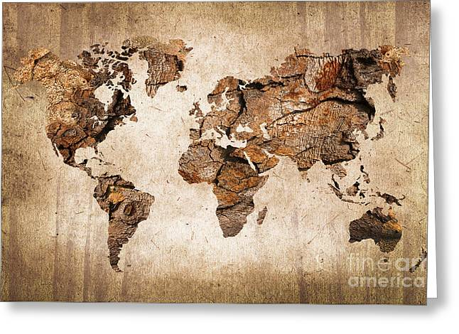 Wood World Map Greeting Card by Delphimages Photo Creations