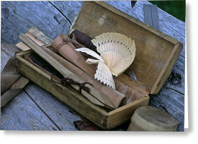 Wood Carving Greeting Cards - Woodcarvers Toolbox With Carved Bird Greeting Card by Keenpress