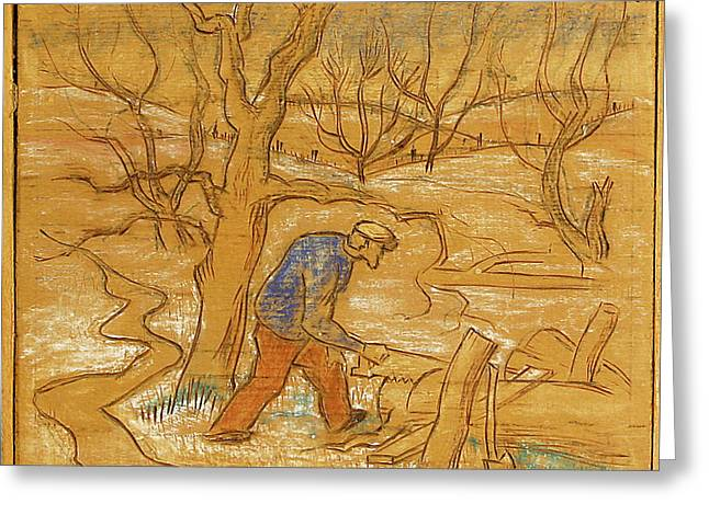 Saw Greeting Cards - Woodcutter Greeting Card by Willoughby  Senior