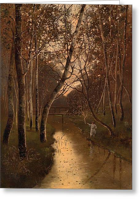 Fishing Creek Greeting Cards - Wooded Landscape With Angler On The Riverside Greeting Card by Kalman Mesterhazy