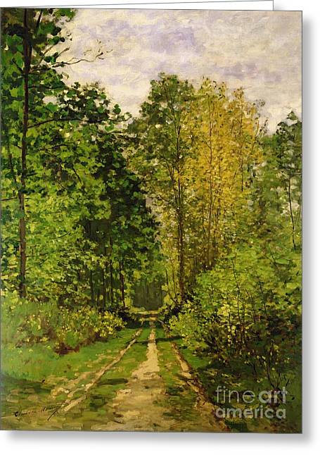 Line Paintings Greeting Cards - Wooded Path Greeting Card by Claude Monet