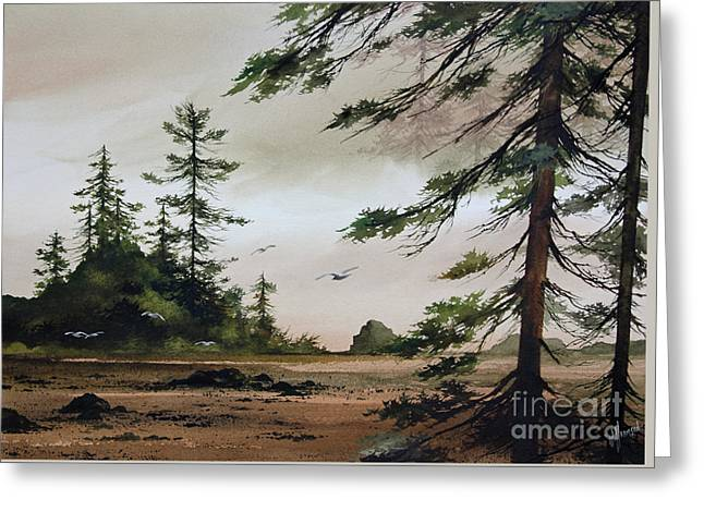 Landscape Framed Prints Greeting Cards - Wooded Shore Greeting Card by James Williamson