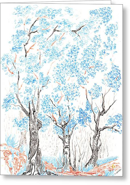 Hike Drawings Greeting Cards - Wooded trail Greeting Card by Regina Valluzzi