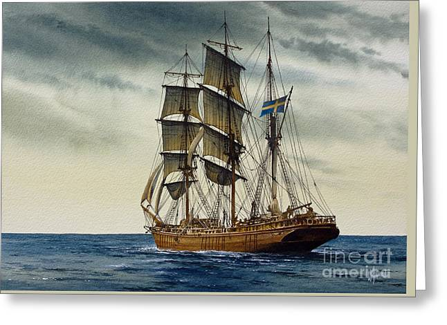 Sailing Ship Framed Prints Greeting Cards - Wooden Barque Under Sail Greeting Card by James Williamson