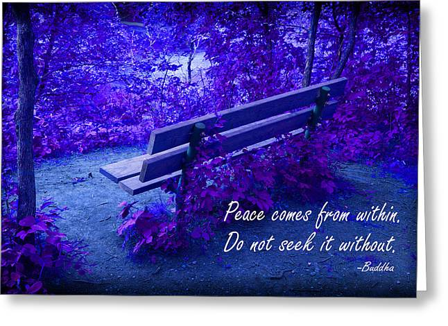 Clever Greeting Cards - Wooden Bench with Inspirational Text Greeting Card by Donald  Erickson