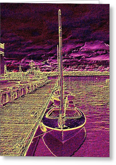 Sailboats Docked Greeting Cards - Wooden Boat Moorage Greeting Card by Tim Allen