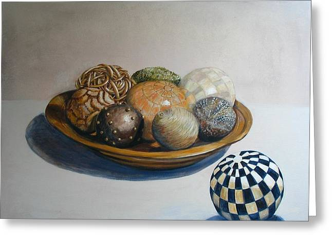 Wooden Bowls Paintings Greeting Cards - Wooden Bowl with Spheres Greeting Card by Yvonne Ayoub