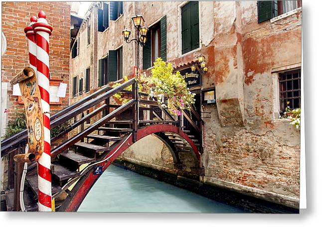 Wooden Building Greeting Cards - Wooden bridge Venice Greeting Card by Sandra Rugina