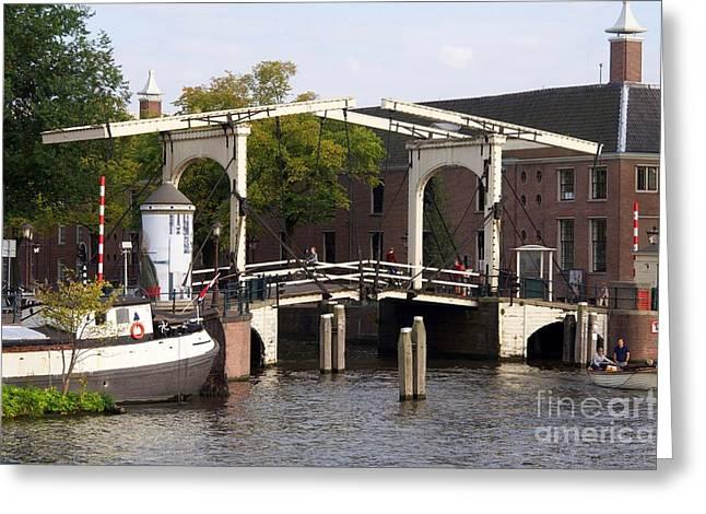 Dutch Culture Greeting Cards - Wooden cantilever bridge along the Amstel River. Amsterdam. Netherlands. Europe Greeting Card by Bernard Jaubert