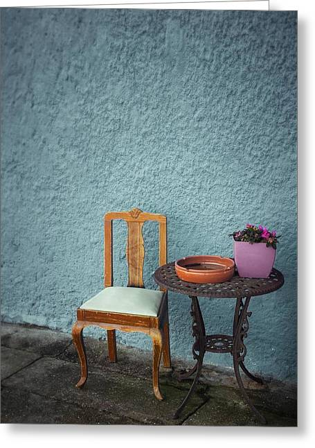Wooden Chair And Iron Table Greeting Card by Carlos Caetano