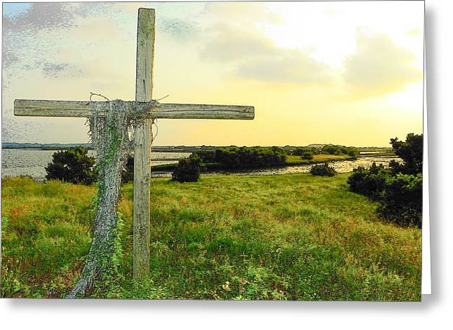 Best Sellers -  - The Wooden Cross Greeting Cards - Wooden Cross 1 Greeting Card by Sheri McLeroy