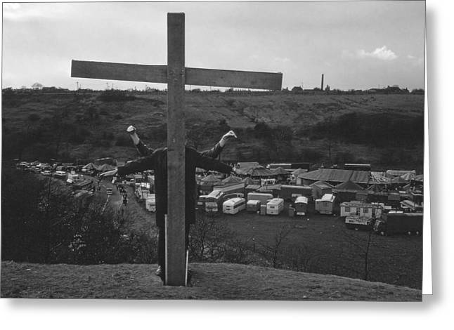 1960 Greeting Cards - Wooden Cross on the Hill Greeting Card by Mark Wellburn