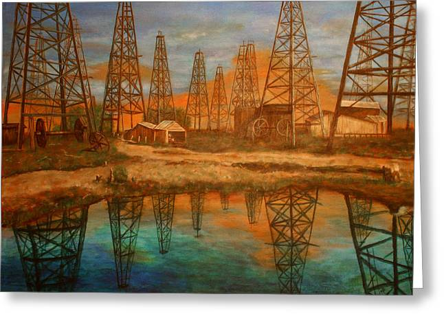 Peterson Greeting Cards - Wooden Derrick Greeting Card by Karen  Peterson