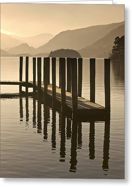 Calmness Greeting Cards - Wooden Dock In The Lake At Sunset Greeting Card by John Short