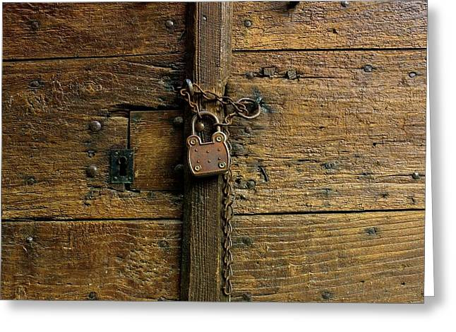 Entry-way Greeting Cards - Wooden door Greeting Card by Bernard Jaubert