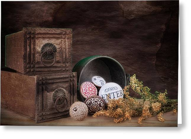 Wooden Drawers Greeting Cards - Wooden Drawers and Knobs Still Life Greeting Card by Tom Mc Nemar