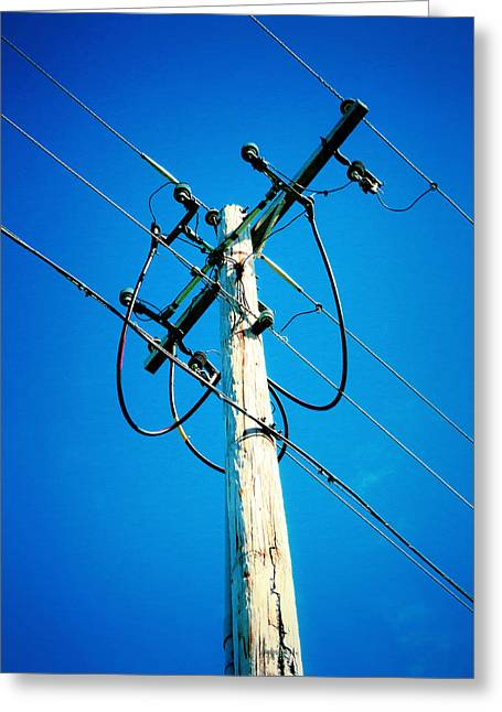 Wooden Electric Pole Greeting Card by Lanjee Chee