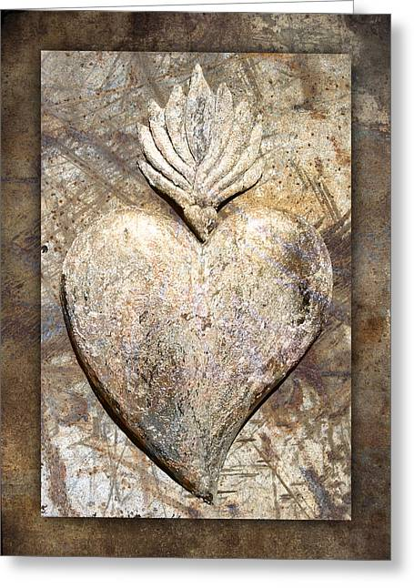 Rectangles Greeting Cards - Wooden Heart Greeting Card by Carol Leigh