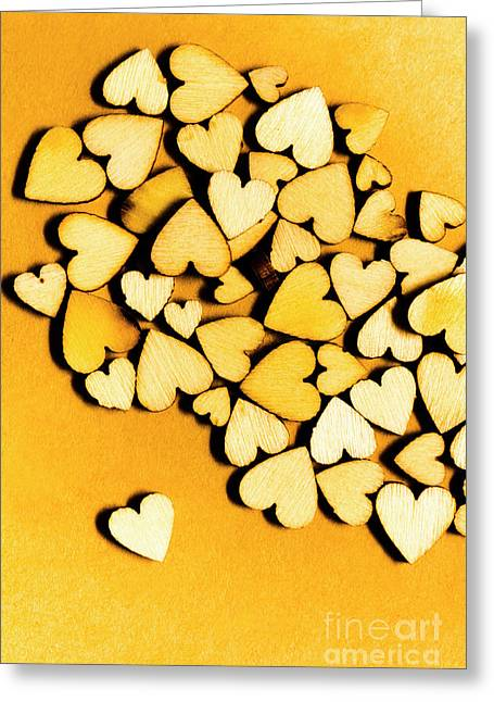 Wooden Hearts With Sentimental Single Greeting Card by Jorgo Photography - Wall Art Gallery