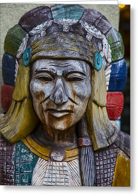 Colorful Indian Chief Greeting Cards - Wooden Indian Face Greeting Card by Garry Gay