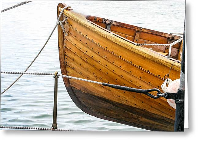 Sailboat Photos Greeting Cards - Wooden Lifeboat on Adventuress Greeting Card by Islander Images