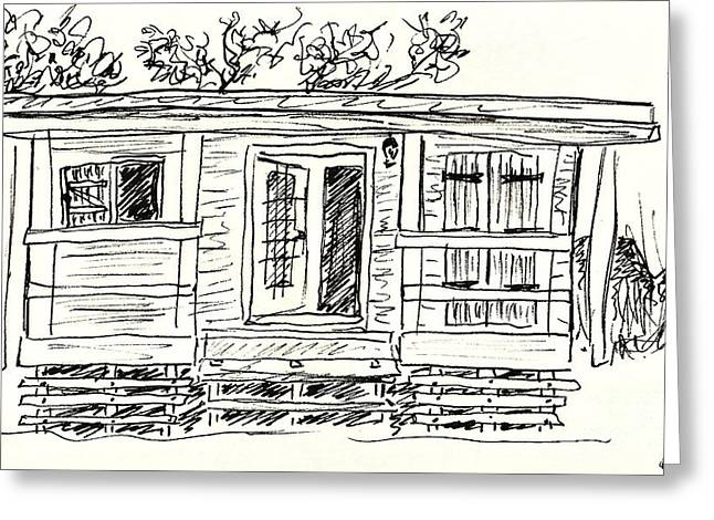 Black Lodge Drawings Greeting Cards - Wooden Lodge Greeting Card by Chani Demuijlder