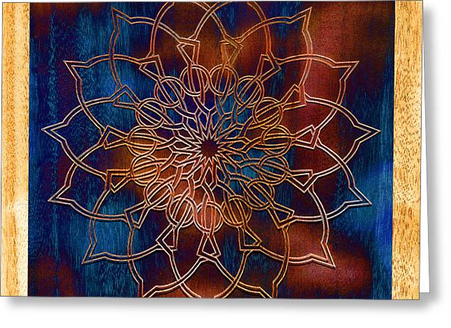 Meditative Greeting Cards - Wooden Mandala Greeting Card by Hakon Soreide