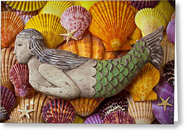 Sea Creature Greeting Cards - Wooden Mermaid Greeting Card by Garry Gay