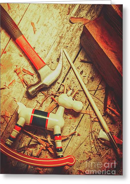 Wooden Model Toy Reindeer. Christmas Craft Greeting Card by Jorgo Photography - Wall Art Gallery