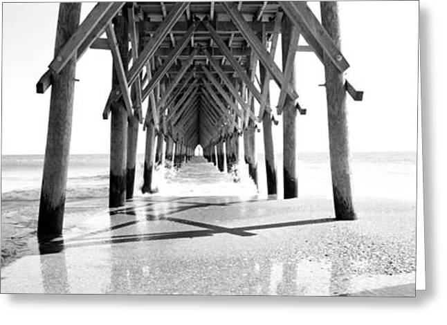 Wooden Post Under A Pier On The Beach Greeting Card by Panoramic Images