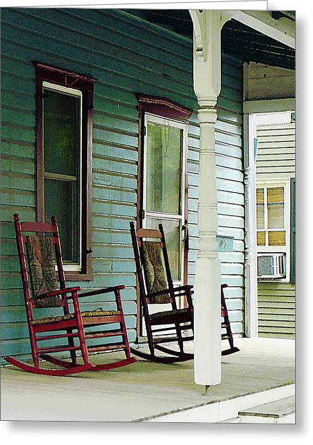 Chairs Greeting Cards - Wooden Rocking Chairs on Porch Greeting Card by Susan Savad
