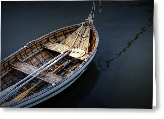Randy Greeting Cards - Wooden Rowboat Dingy in the Harbor at Jamestown Greeting Card by Randall Nyhof