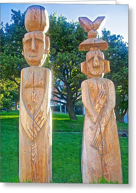 Wooden Sculpture Greeting Cards - Wooden Sculptures in Central Park in Bariloche-Argentina Greeting Card by Ruth Hager