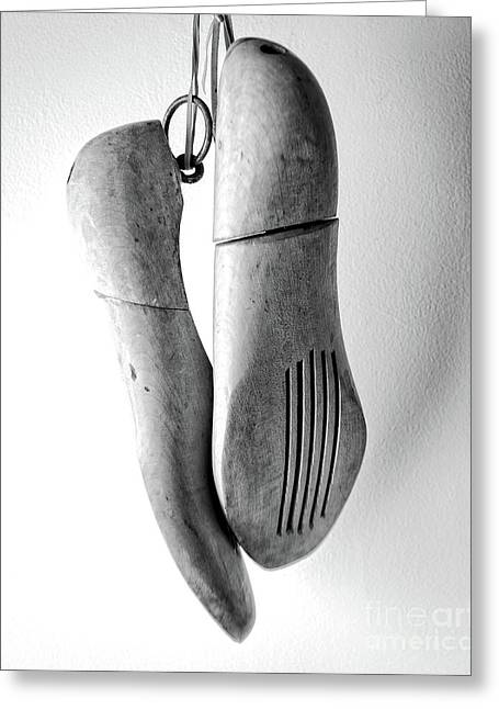 Wooden Shoe Forms Black And White Greeting Card by Edward Fielding