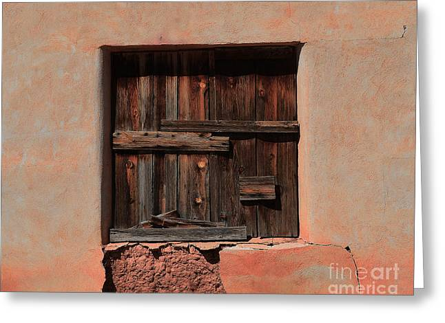 Catherine Window Greeting Cards - Wooden Shutters in Adobe House Greeting Card by Catherine Sherman