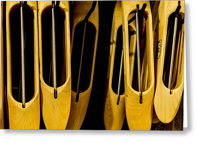 Wooden Shuttles Greeting Card by Jean Noren