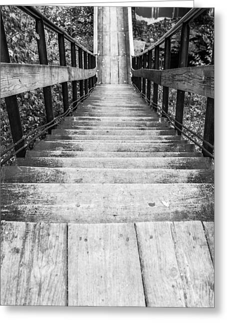 Wooden Stairs Greeting Cards - Wooden Steps Leading Down Greeting Card by John Williams