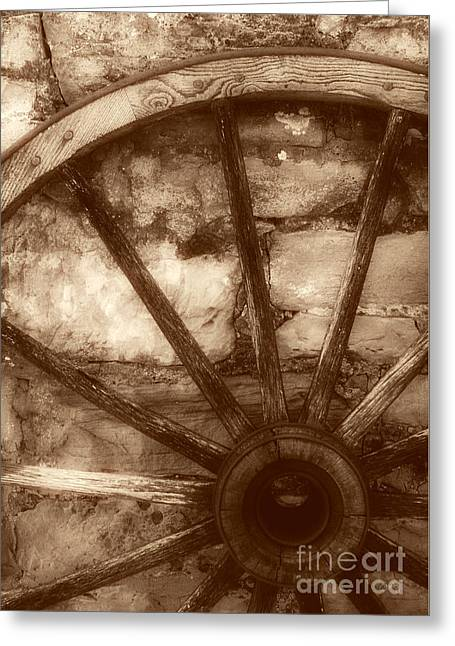 Straps Greeting Cards - Wooden Wagon Wheel Greeting Card by Imagery by Charly
