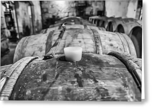 Cellar Greeting Cards - Wooden Wine Barrel Row Greeting Card by Nomad Art And  Design