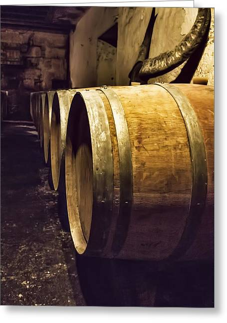 Winemaking Greeting Cards - Wooden Wine Barrels Greeting Card by Nomad Art And  Design