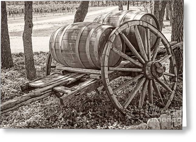 Wine Cart Greeting Cards - Wooden wine barrels on cart Greeting Card by Imagery by Charly