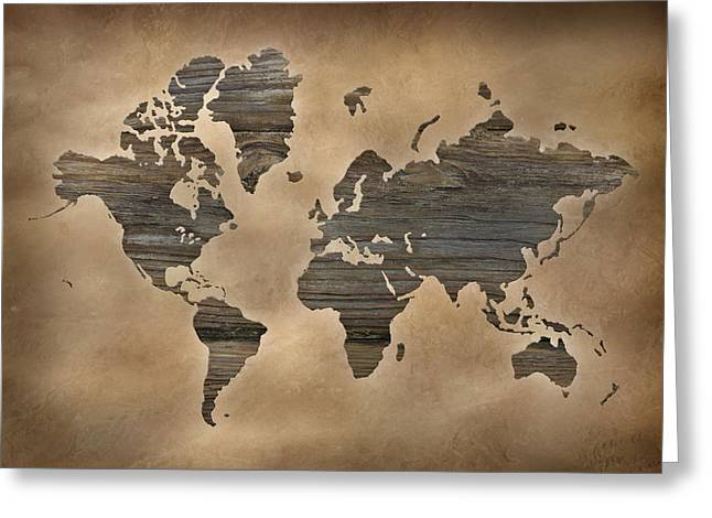 Wooden World Map Greeting Card by Lori Deiter