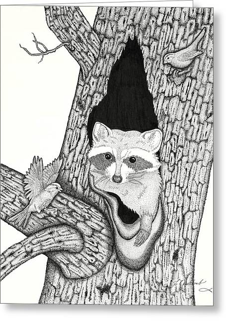 Woodland Scenes Drawings Greeting Cards - Woodland Adventures Part 1 Greeting Card by Judy Cheryl Newcomb