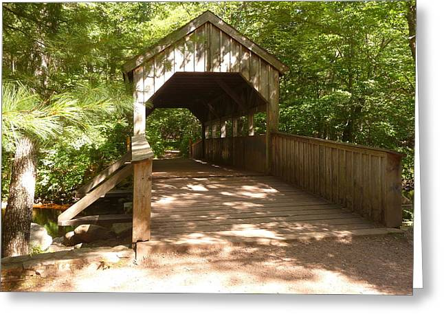 Best Sellers -  - Devils Den Greeting Cards - Woodland Covered Bridge Greeting Card by Margie Avellino